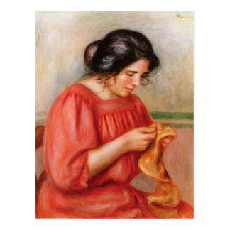 Gabrielle darning, 1908 postcard