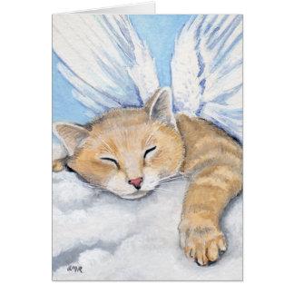 Gabrielle, gato del ángel en las nubes que pintan tarjeta pequeña