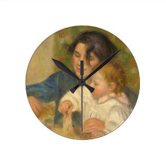 Gabrielle Renard and infant son, Jean by Renoir Round Clock