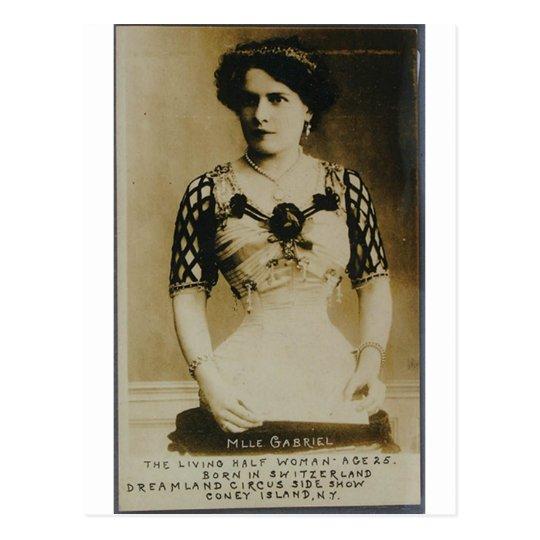 Gabrielle, the amazing half-woman! postcard