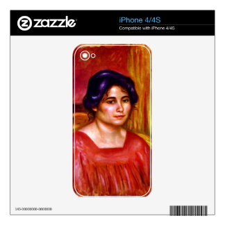 Gabrielle with red blouse by Pierre Renoir iPhone 4 Skins