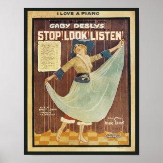 Gaby Deslys Stop! Look! Listen! Vintage Songbook C Poster