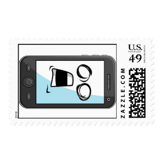 Gadget with Funny Expression - Smartphone Postage Stamp