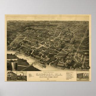 Gadsden, AL 1887 Panoramic Map Birds Eye View Poster
