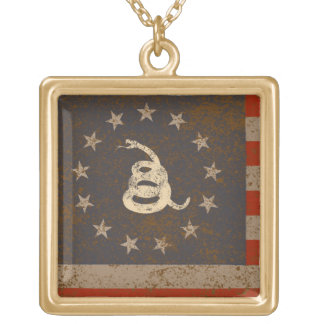 Gadsden and US 1776 Flag, Detail Gold Plated Necklace