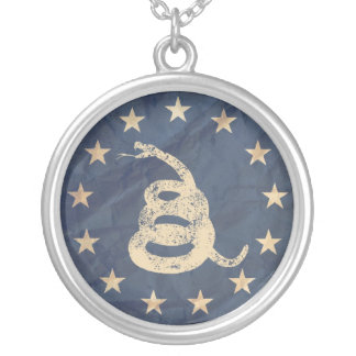 Gadsden and US 1776 Flag, Detail Silver Plated Necklace