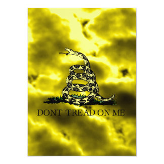 Gadsden Coiled Snake On Storm Clouds Card