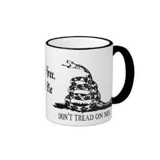 Gadsden - Don't Tread on Me, Live Free or Die Ringer Coffee Mug