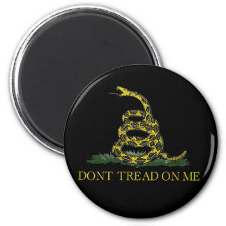 Gadsden Flag Coiled Snake 2 Inch Round Magnet