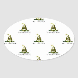 Gadsden Flag Coiled Snake Tiled Image Oval Sticker