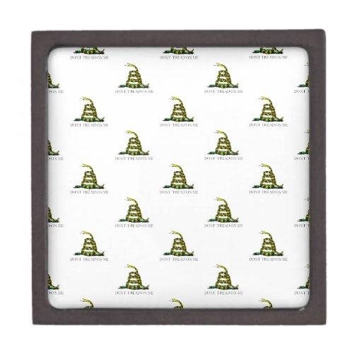 Gadsden Flag Coiled Snake Tiled Image Premium Keepsake Box