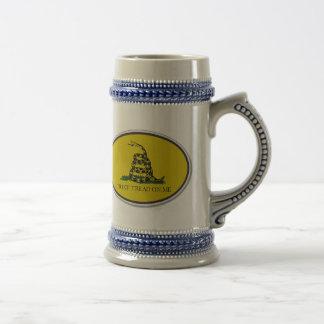 Gadsden Flag Dont Tread On Me Oval Design 18 Oz Beer Stein