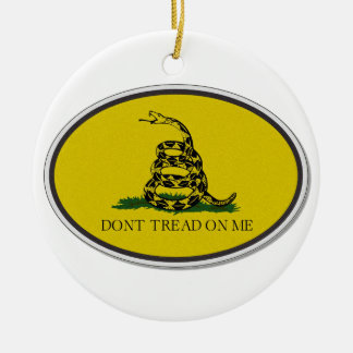 Gadsden Flag Dont Tread On Me Oval Design Double-Sided Ceramic Round Christmas Ornament