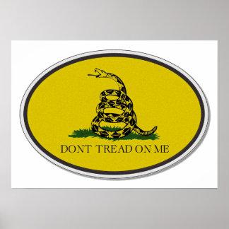 Gadsden Flag Dont Tread On Me Oval Design Print
