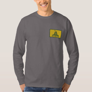 Gadsden Flag Dont Tread on Me Political Embroidered Long Sleeve T-Shirt