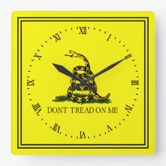Gadsden Flag Dont Tread On Me Square Wall Clock