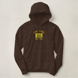 Gadsden Flag  Live Free or Die Embroidered Hoodie