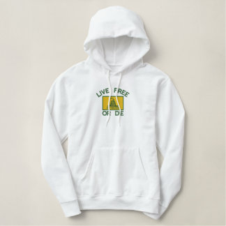 Gadsden Flag Live Free or Die Political Embroidered Hoodie