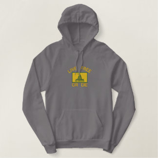 Gadsden Flag Live Free or Die Political Freedom Embroidered Hoodie