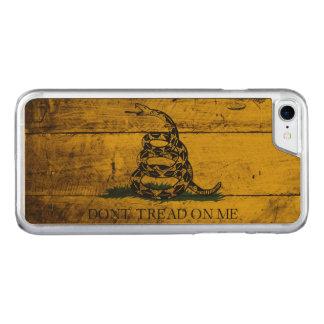 Gadsden Flag on Old Wood Grain Carved iPhone 7 Case