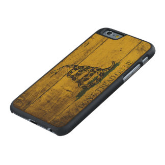 Gadsden Flag on Old Wood Grain Carved Maple iPhone 6 Case