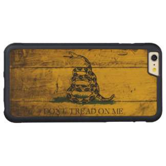 Gadsden Flag on Old Wood Grain Carved Maple iPhone 6 Plus Bumper Case