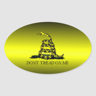 Gadsden Flag Yellow and Black Fade Oval Sticker