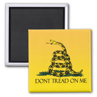 Gadsden Flag, Yellow Background 2 Inch Square Magnet