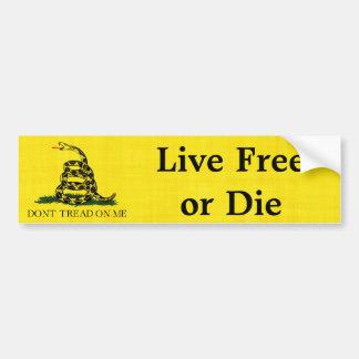 Gadsden - libre vivo o muere pegatina para auto