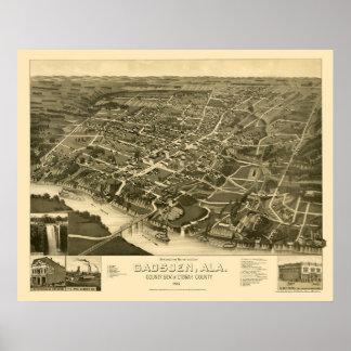 Gadsden, mapa panorámico del AL - 1887 Posters