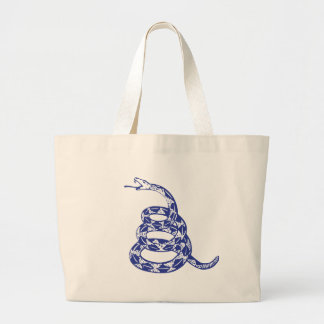 Gadsden Snake - Blue Large Tote Bag