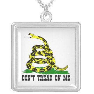 Gadsden Snake Don't Tread On Me Square Pendant Necklace