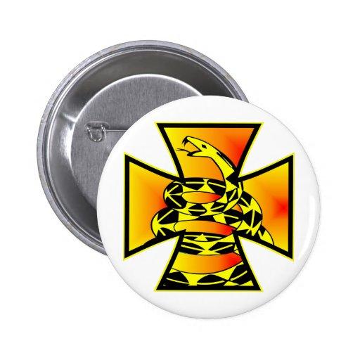 Gadsden Snake Iron Cross Pinback Buttons