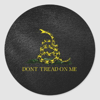 Gadsden Snake On Faux Leather Classic Round Sticker