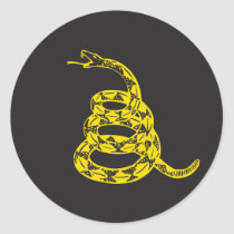 Gadsden Snake - Yellow Classic Round Sticker