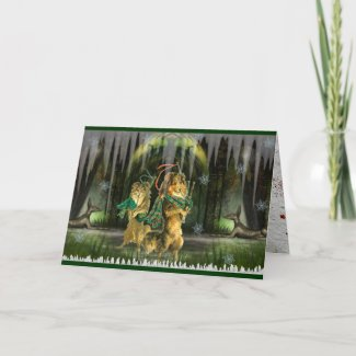 Gaelic Dogs Scottish Irish Holiday Christmas Card