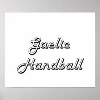 Gaelic Handball Classic Retro Design Poster