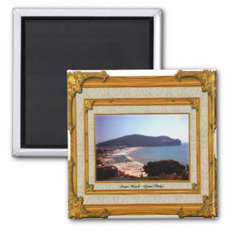 Gaeta Beach Vintage Frame 2 Inch Square Magnet