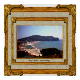 Gaeta Beach Vintage Frame print