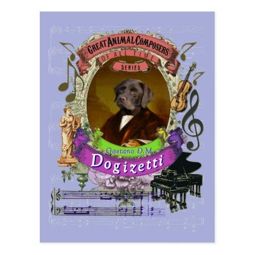 Gaetano Dogizetti Dog Animal Composer Donizetti Postcard