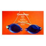 Gafas azules de la natación en el naranja tarjetas de negocios