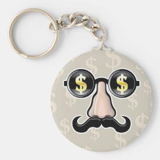 Gafas de sol del dólar con la nariz y el bigote llavero redondo tipo pin