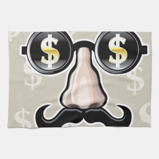 Gafas de sol del dólar con la nariz y el bigote toallas de mano
