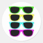 Gafas de sol del Rgb Fluo del vintage Etiquetas Redondas