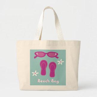 Gafas de sol, flips-flopes y bolso de la playa de bolsa tela grande