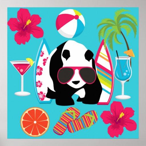 Gafas de sol frescas de panda del oso del vago div posters