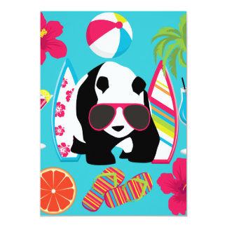 Gafas de sol frescas de panda del oso del vago invitación 12,7 x 17,8 cm