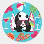 Gafas de sol frescas de panda del oso del vago pegatinas redondas