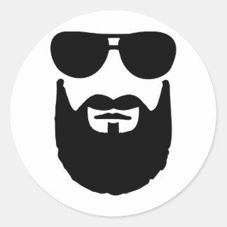 Gafas de sol llenas de la barba pegatina redonda