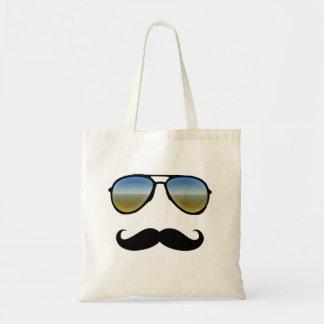 Gafas de sol retras divertidas con el bigote bolsas lienzo